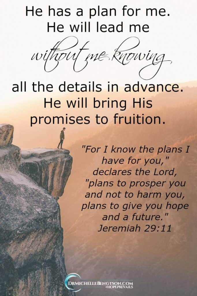 I don't need to know all the details and steps in advance. He has a plan for me and He will bring His promises to fruition.