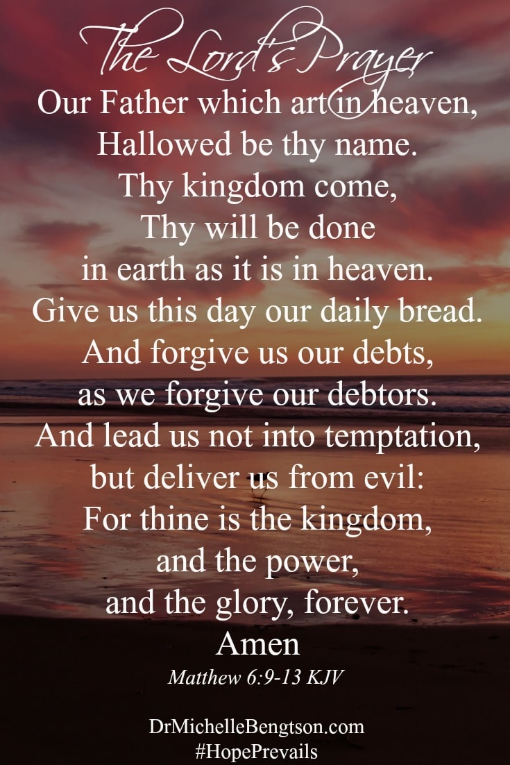 The Lord's Prayer. Jesus modeled for us the perfect prayer.