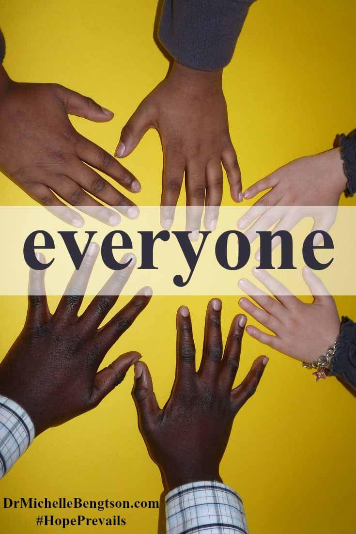 Everyone. God loves everyone. He sent His son to die for EVERYONE. God doesn't see our skin color, our gender, our height, OR our sin. He sees us in His image, through the righteousness of Jesus.