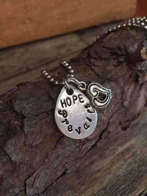 Necklace with hand stamped Hope Prevails Charm