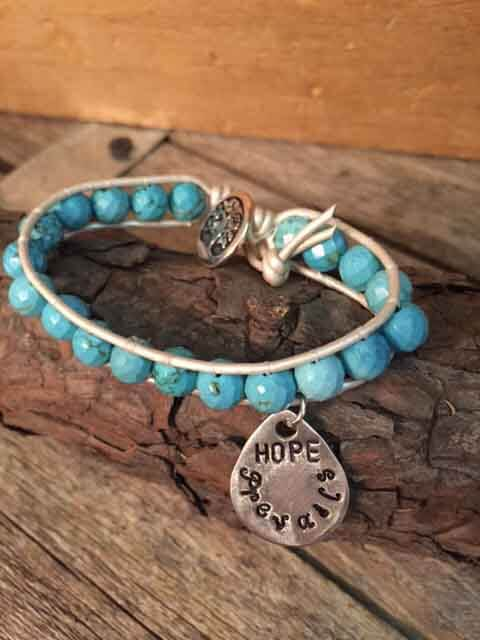 leather-beaded-bracelet-with-teardrop-hope-prevails-charm-cream-leather-turquoise-beads