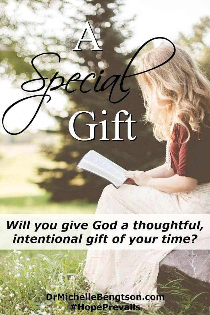When we give God a thoughtful, intentional gift of our time, it's a special gift. An offering to the Lord of a part of ourselves, a part of our day. The best part, without defect, as a gift to Him.