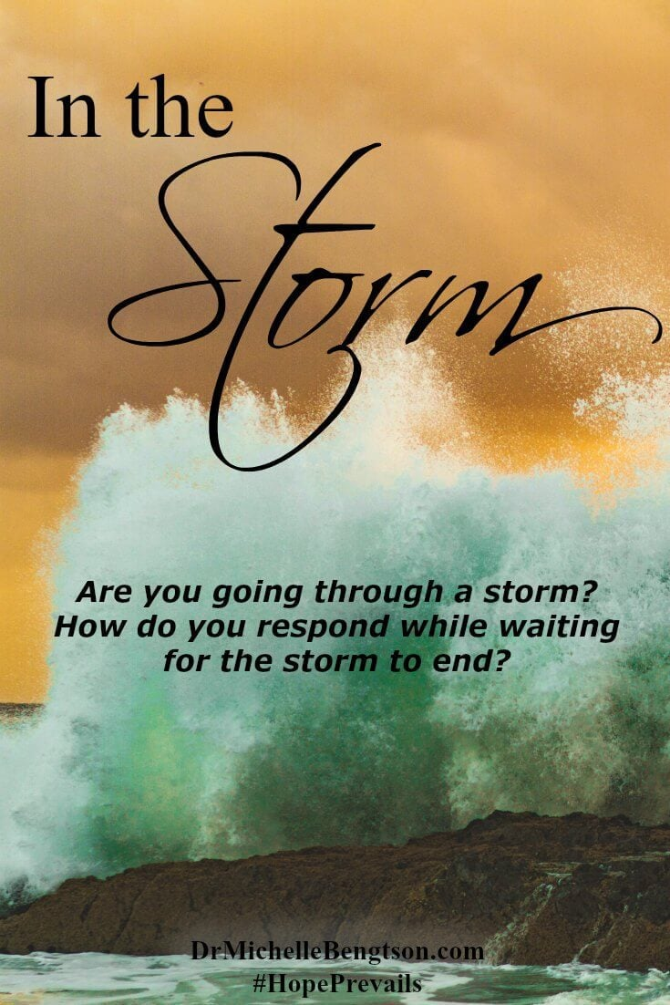 How do you respond while waiting for the storm to end? We can hold on to God as our anchor in the storm. While we wait, we can trust Him and thank Him for all He has done.