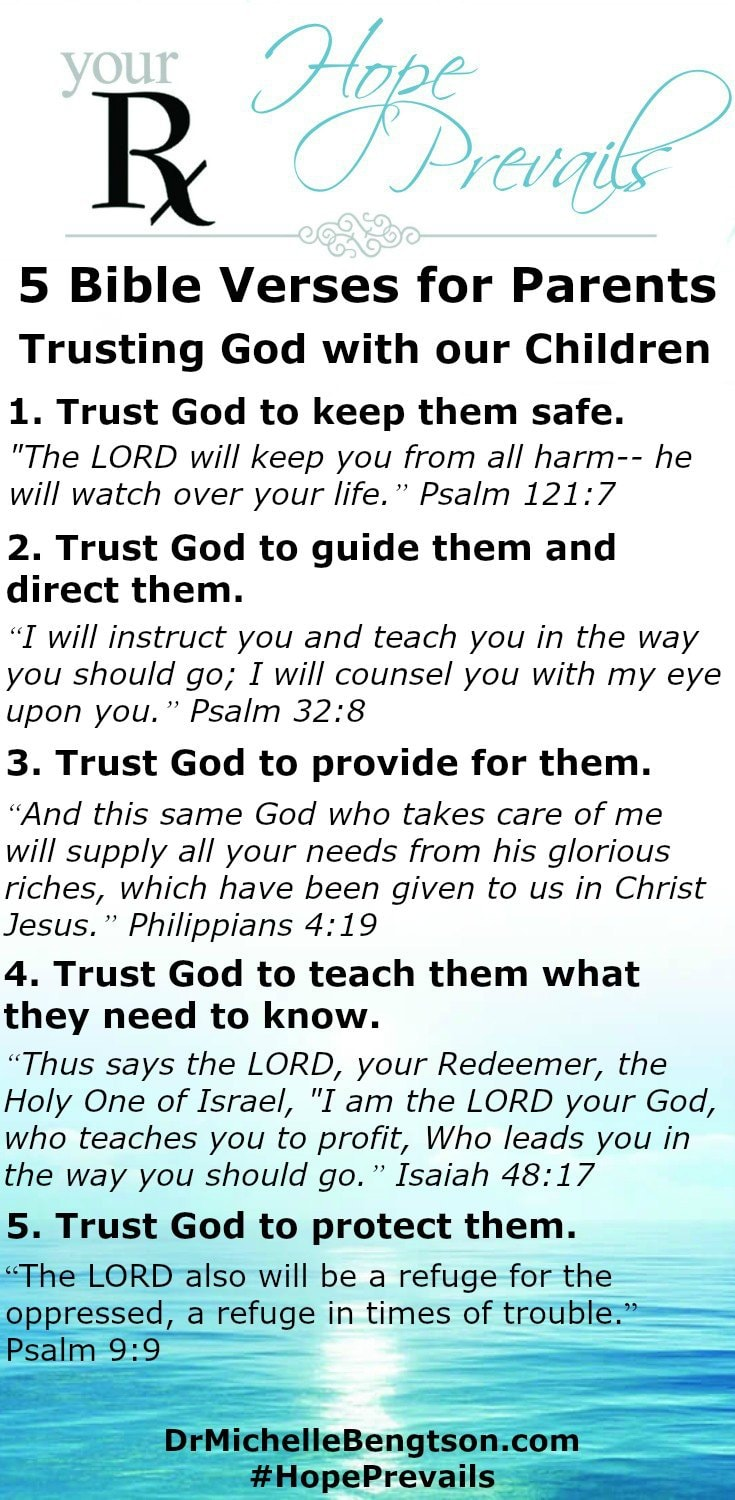 Do you trust God with your children? He loves them more than we do. As our children leave the nest, we parents use these 5 Bible Verses to stand on and trust God with our children.