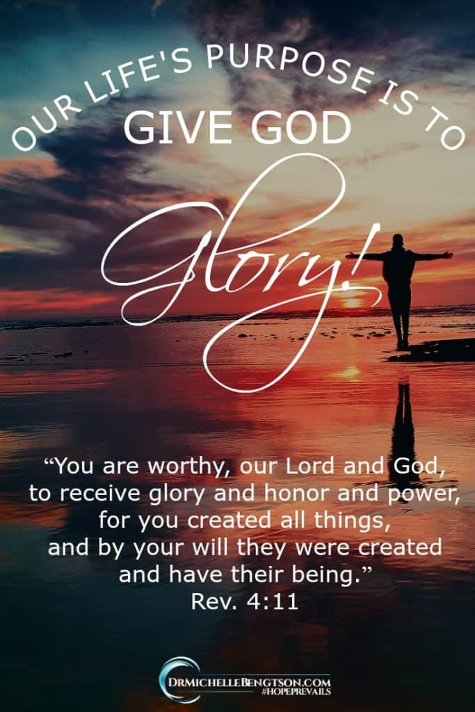 "Your life's purpose is to give God glory! Revelation 4:11 says, ""You are worthy, our Lord and God, to receive glory and honor and power, for you created all things, and by your will they were created and have their being."" You can only do that by being you and doing only what He asks of you. #Bibleverse #Christianinspiration #hope"