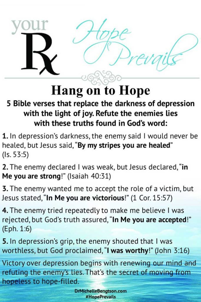 5 Bible verses that replace the darkness of depression with the light of joy. #depression #mentalhealth #Bibleverses