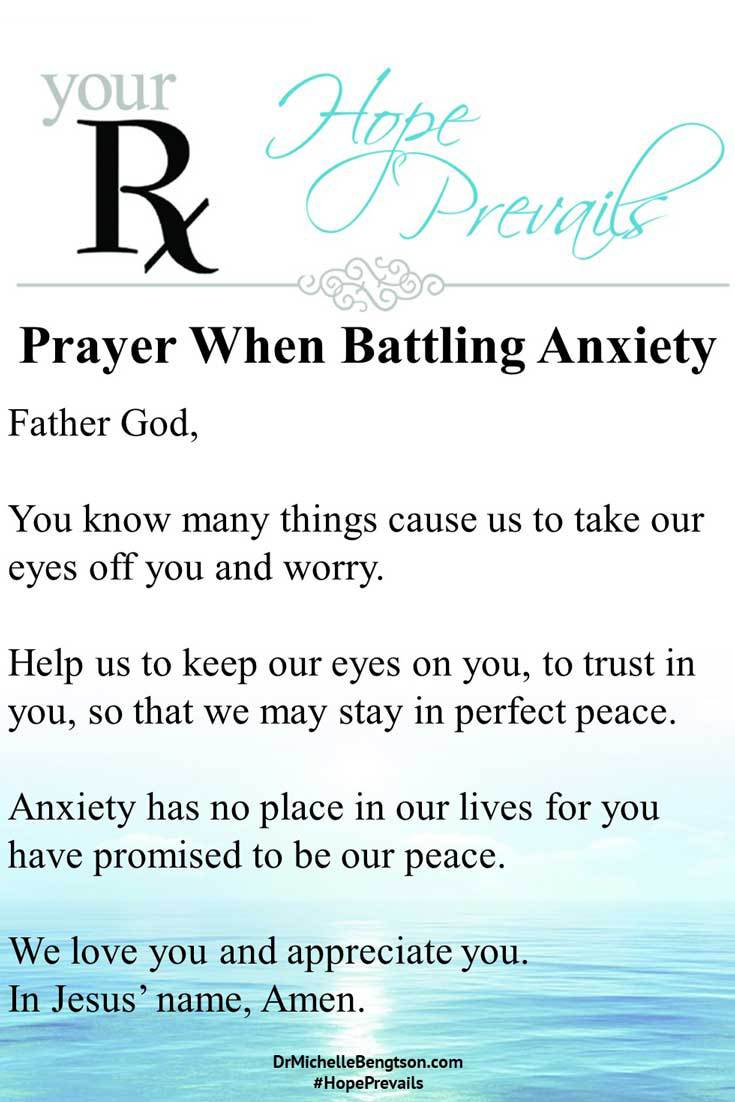 A prayer when battling anxiety. Thank you, Lord, that You promise to keep us in perfect peace when we keep our mind on You. #anxiety #mentalhealth #Bibleverses