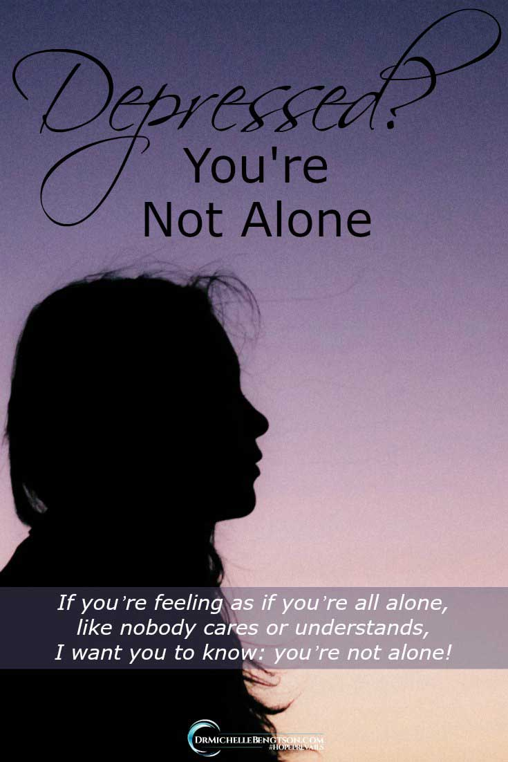 If you're feeling as if you're all alone, like nobody cares or understands, I want you to know: you're not alone! #depression #HopePrevails #mentalhealth