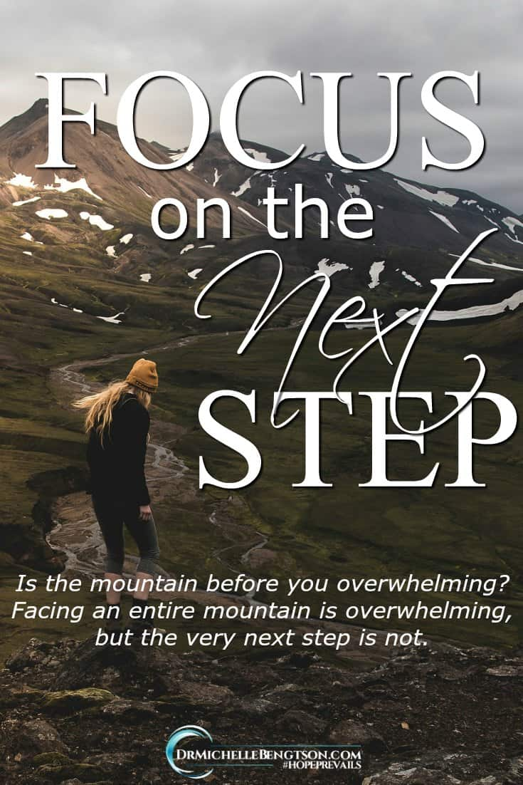 The enemy doesn't want us moving forward in our destin. He wants us to focus on the mountain and get overwhelmed, rather than focusing on the mountain Creator who is with us every step of the way. #faith #trust #HopePrevails
