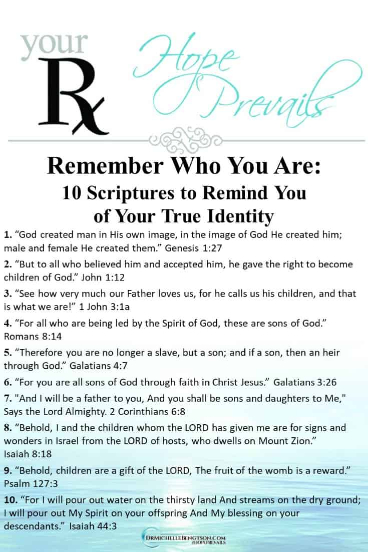 These 10 scriptures will remind you of your true identity in Christ. Write them down and use them to refute the lies of the enemy. #BibleVerses #scripture #identity