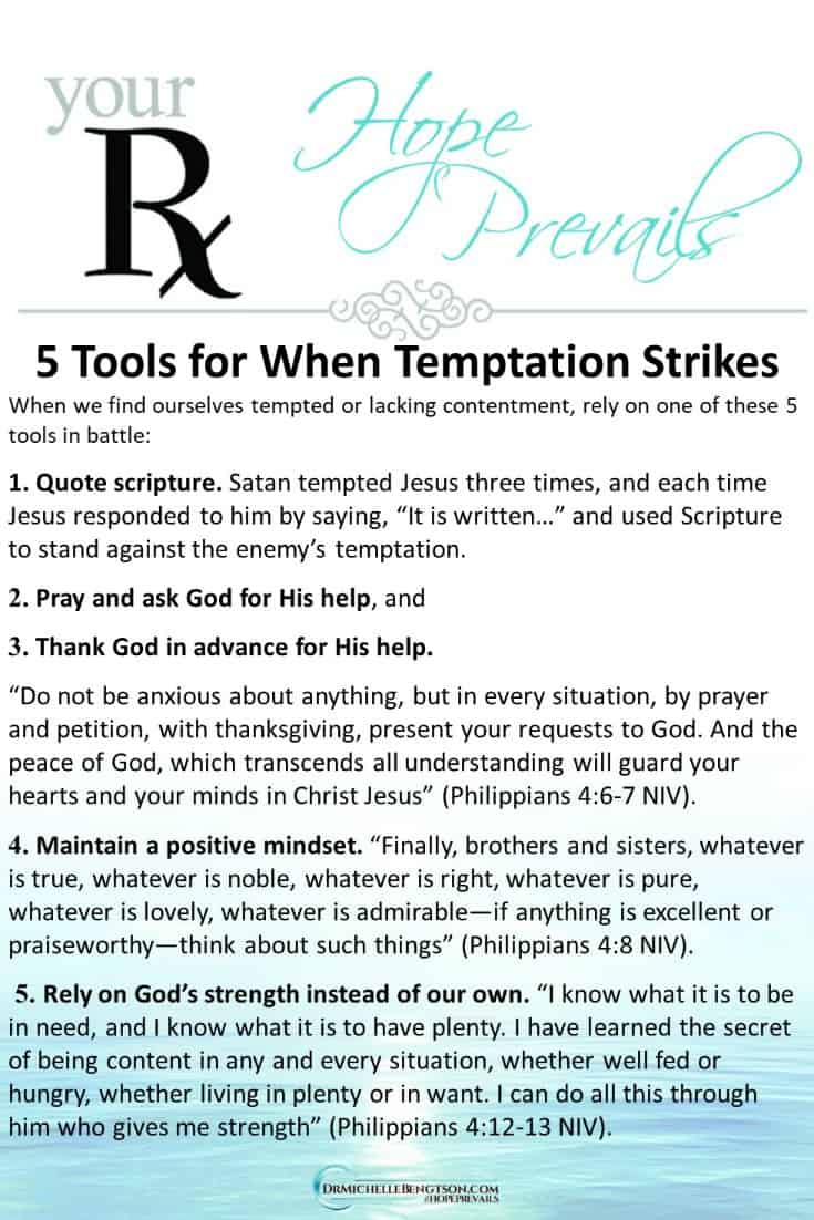 When temptation strikes or contentment is lacking, how do you fight back? Rely on these 5 tools in the battle. #Christianity #ChristianEncouragement