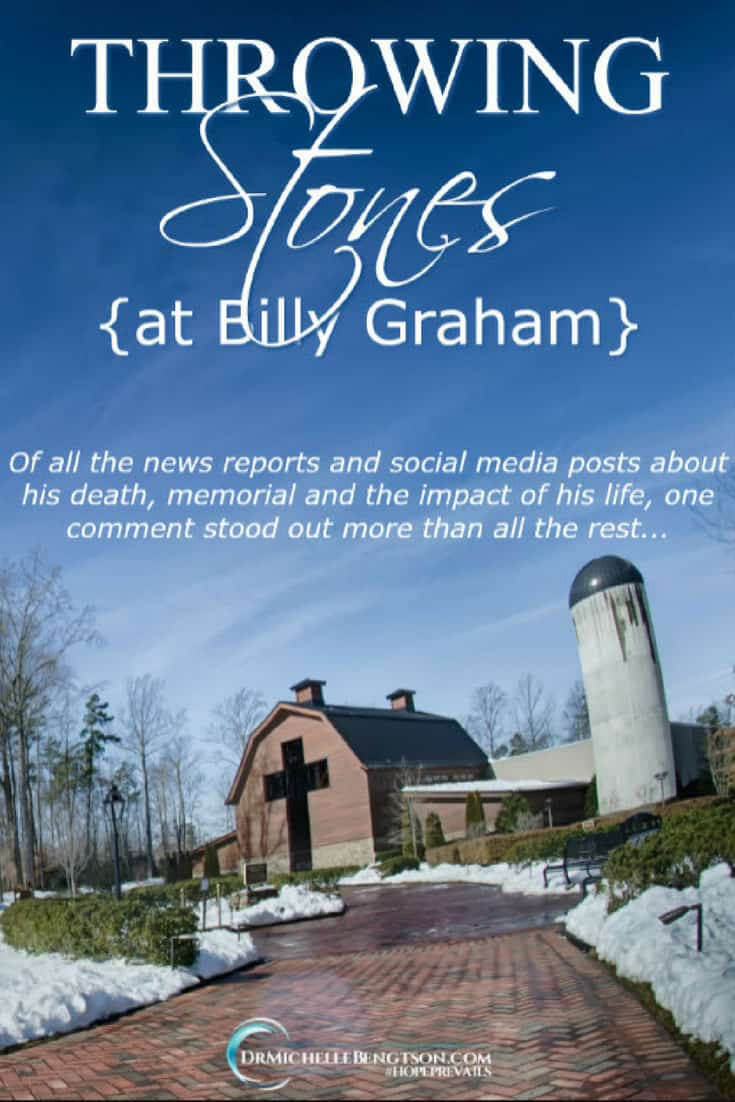 Sometimes, when you read the comments on social media posts, you may come across something that cuts deep. Someone throws stones. Let the one without sin cast the first stone. #Christianity #BillyGraham #ChristianInspiration