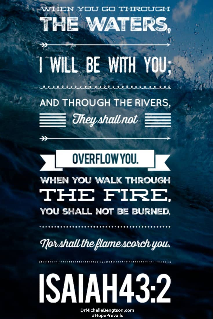 Do you see what that says? When you pass THROUGH the waters, rivers, and the fire. This is not your destination. It's just part of your journey. #Bibleverse #encouragement #faith #scripture