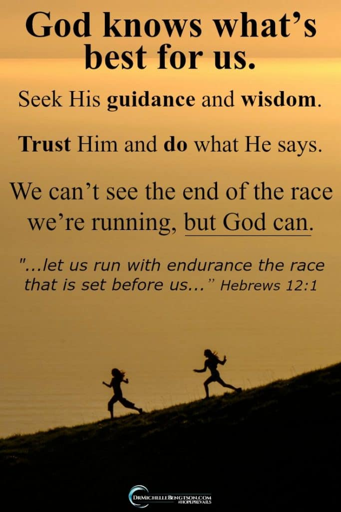 When you put your trust in the Lord, you can run with endurance the race set before you because God knows your path. #ChristianLiving #faith