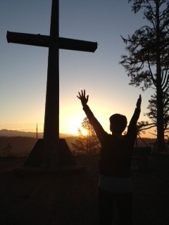 MB at cross at sunrise on Palm Sunday Mt Hermon CA 2013