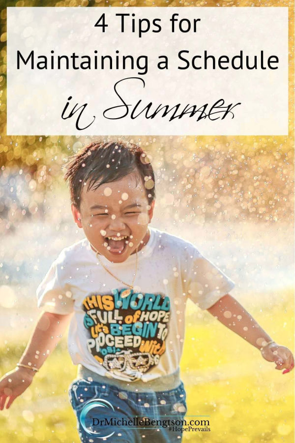 How can families enjoy as much of the summer as possible while also giving the attention required to maintain the household? You can enjoy the demands of daily life and summer flexibility with a little bit of planning. These 4 tips will help you maintain a schedule in summer. #summer #family #healthyliving
