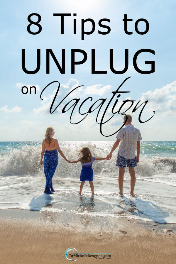 How do you let go and enjoy yourself and your family on vacation? Taking a vacation and really unplugging from the office, email and technological devices can be hard for the family provider. But, in order to really enjoy what you worked so hard to provide, it's necessary. These 8 tips to unplug on vacation will help. #vacation #hope #healthyliving