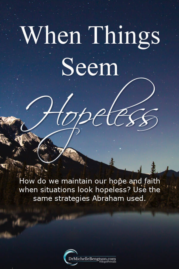 When things seem hopeless, we get to choose how we will respond. How do we maintain our hope and faith when situations look hopeless? We can employ the same strategies Abraham used. God richly rewarded him for his obedience and he is now known as the father of faith. #faith #trustGod #hope #hopeless