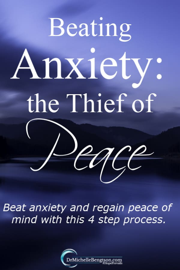 Worry, anxiety, doubt and overwhelm step in like a thief in the night to steal our joy and peace. Exchanging worry and anxiety for peace is not a 1-time event, but a process. Beat anxiety with this 4 step process. #anxiety #mentalhealth #BibleVerse