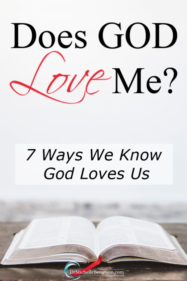 Have you ever felt unlovable or wondered, does God love me? God has been faithful to show ways that we can know He loves us. Read more for 7 promises from the Bible about God's love for us. #Bible #faith #God