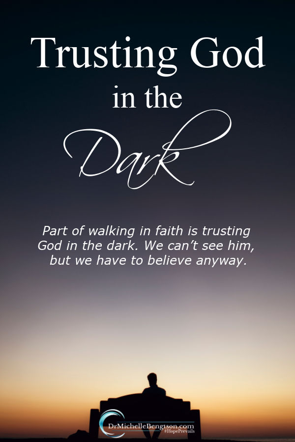 How many times have you been in darkness without a plan to make it through it? Maybe you've faced challenges financially, with relationships or in health. Part of walking in faith is trusting God in the dark. #God #faith #trustGod