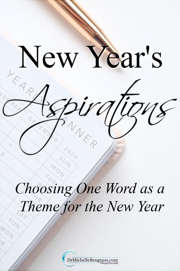 I'm not really a fan of New Year's resolutions. Seems like a recipe for failure to me. With my New Year's Aspirations, I select one word or theme to focus on for the next year. That one word sums up who I want to be or how I want to live for the year. This choice can be a challenge! Read more here. #newyear #newyearsresolutions