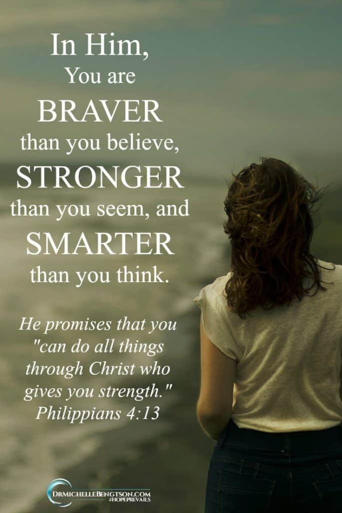 You are braver than you believe, stronger than you seem, and smarter than you think when you have Him residing within you.  It's not about who you are, it's about who you are in Christ. #Jesus #hope #faith #Christianity