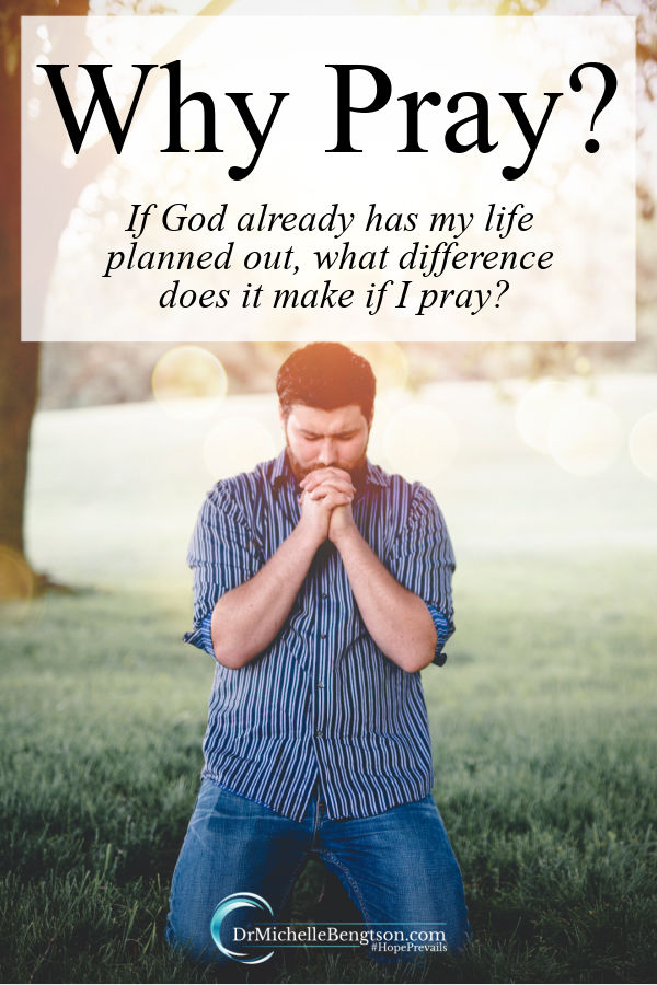 "Have you ever asked the question, ""Why pray?"" You're not alone! The enemy of our soul would like for us to think our prayers are futile and that it doesn't make any difference if we pray because our whole lives are already planned out. Read more why it's important to pray. #prayer #faith #God"