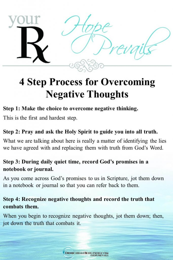 This simple yet effective 4 step process to combat negative thoughts will walk you through identifying lies you've believed and replacing them with God's Word. Read more for 9 truths you can use to get rid of negative thoughts spiritually. #negativethinking #negativity #mentalhealth #Bible #faith #hope