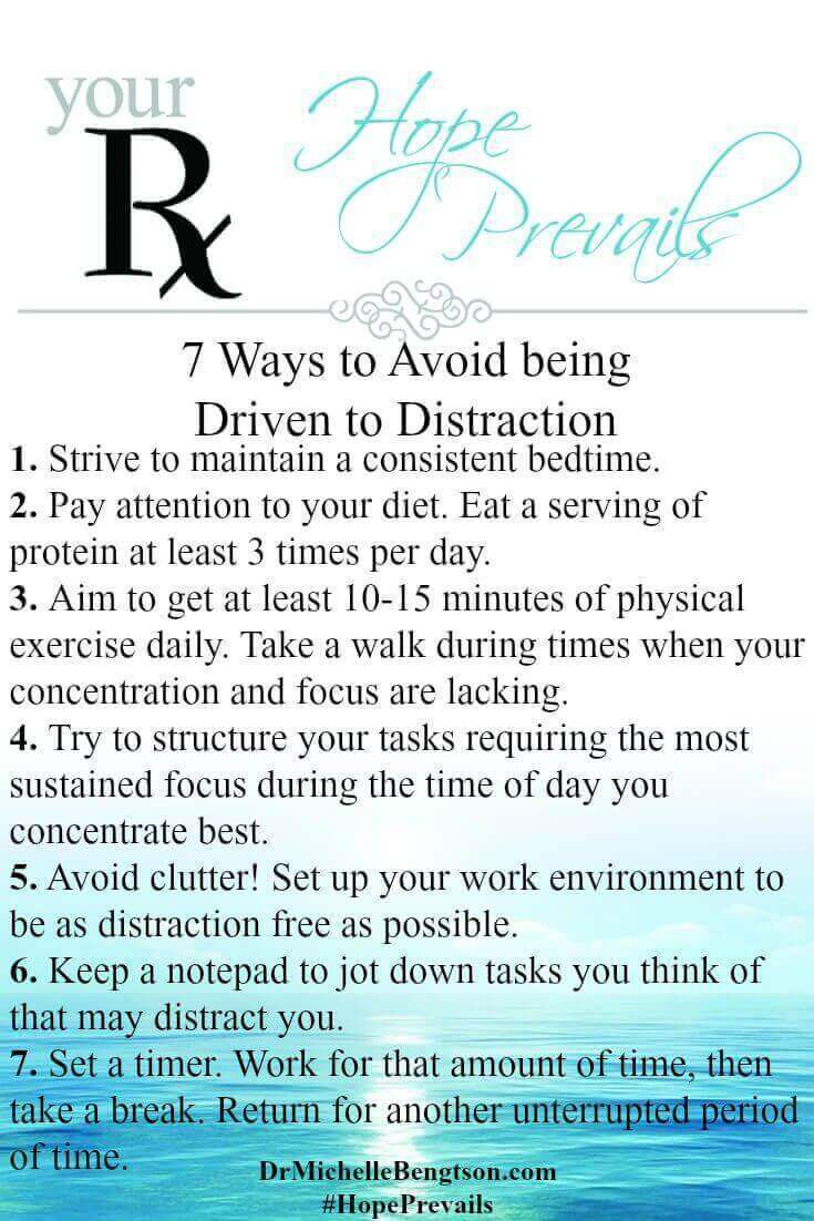 Dr. B shares 7 Simple Ways to Avoid being Driven to Distraction. If your mind wanders and you are distracted by a million things to the point of being less productive and effective in both your personal and professional life, take the Doctor's advice and try these 7 simple steps.
