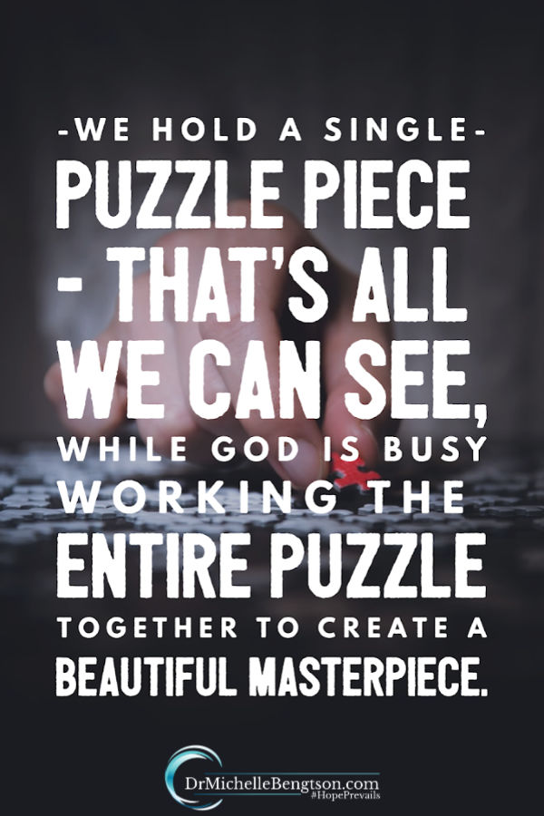 We only see a small piece of the puzzle. God can see the whole thing. He works everything together for good to create a beautiful masterpiece. Read more for how God answers our prayers and how to maintain hope and faith when we feel like God has abandoned or betrayed us. #prayer #God #faith #hope