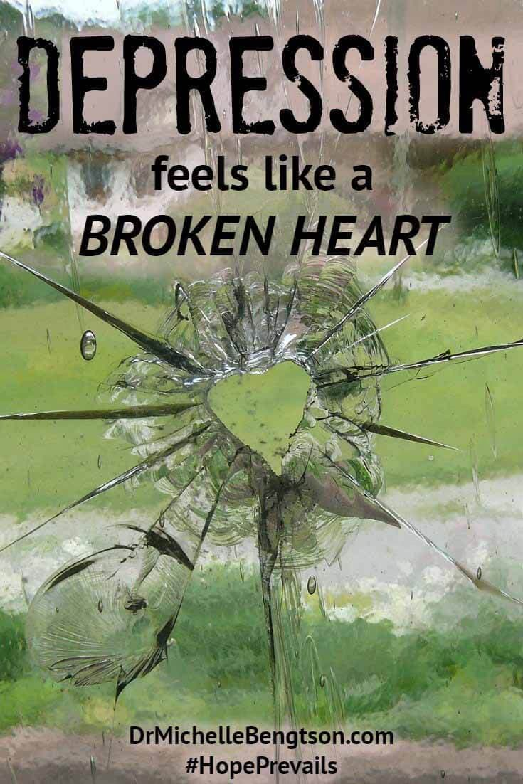 "Depression hurts in so many ways. The pain and emotional turmoil of depression can feel like a broken heart. The good news is no matter what we go through, we can trust God to be faithful to His promises: to be near and to heal: ""He heals the brokenhearted and binds up their wounds"" (Psalm 147:3)."