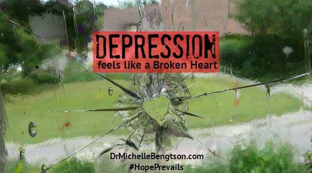 "Depression hurts in so many ways. The pain and emotional turmoil can feel like a broken heart. The good news is that no matter what we go through, we can trust God to be faithful to His promises: to be near and to heal: ""He heals the brokenhearted and binds up their wounds"" (Psalm 147:3)."
