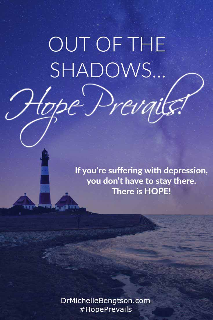 One thing I learned through my journey is there's no shame in going through depression. There's no shame in heart disease or diabetes or allergies. If you're suffering today, you don't have to stay there. There is hope. Out of the shadows, Hope Prevails! #depression