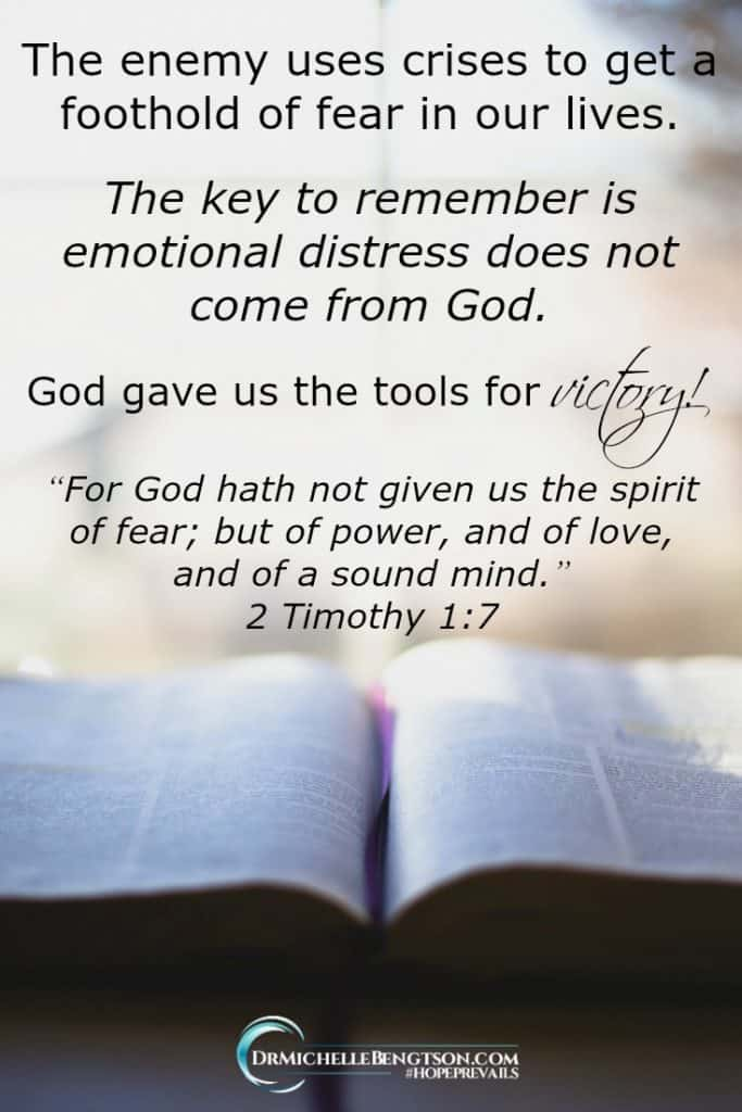 The enemy uses crises as an opportunity to get a foothold of fear in our lives and carry with him worry and anxiety, doubt, despair, and depression. Fear is not from God. He gave tools of Victory. #Hope #faith #trustGod