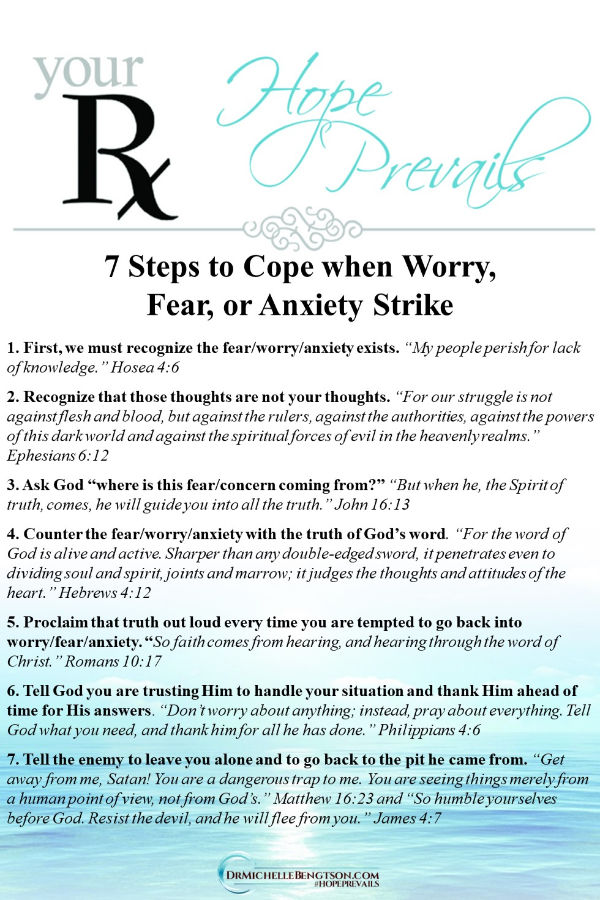 7 steps when worry, fear, or anxiety strike. Read more for tools and Bible Verses God gave us to overcome.  #anxiety  #worry #fear #faith #Bible