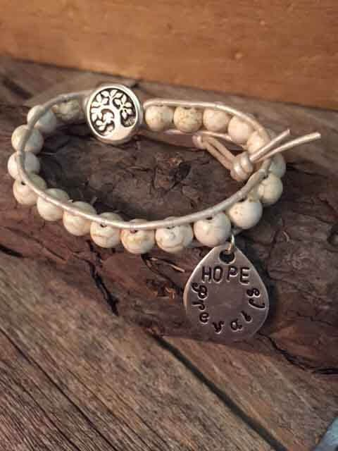 Leather and Beaded Hope Prevails Charm Bracelet