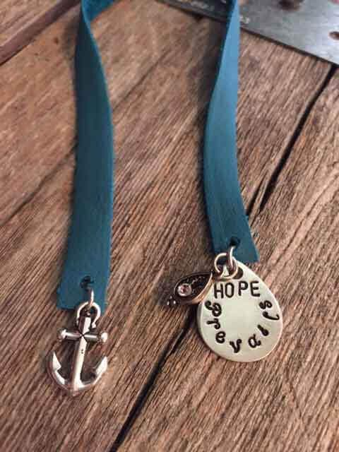 Hand Stamped Hope Prevails Charm Bookmarks