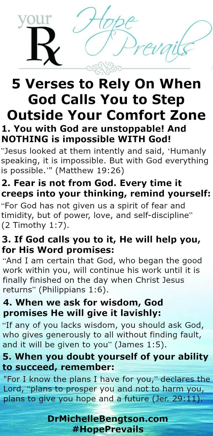 When God calls you to step outside your comfort zone, stand on His truth and battle your fear. Fight back and rely on these 5 verses from His word.