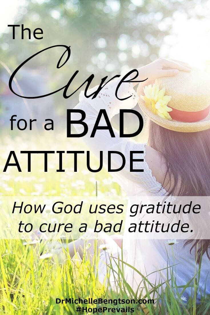 "Are you emotionally spent, physically weary and every ounce of you wants to give up? That's where I found myself. Then, God asked me, ""what can you thank Me for today?"" God used gratitude to cure a bad attitude."