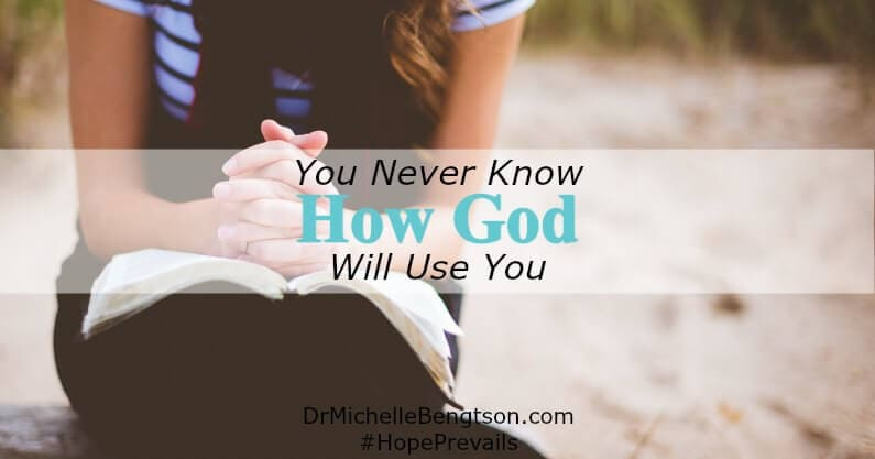 You never know how God will use you. He's always ready to use a submitted heart for others' good and His glory. Be obedient to His call and trust Him for the outcome.