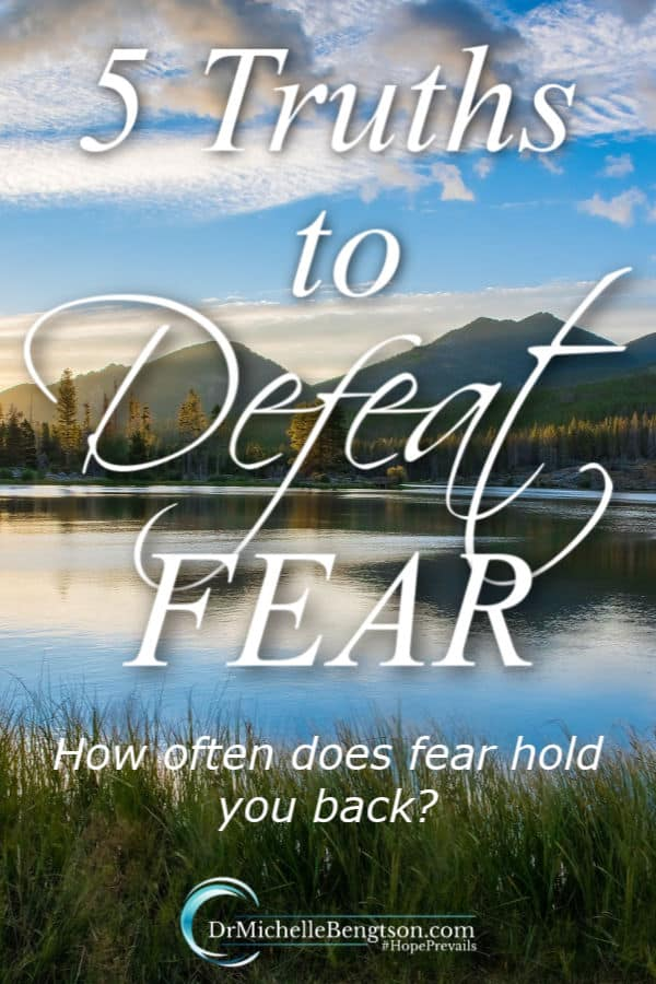 How often do I want to do something but don't because I'm afraid. When we look to the Lord instead of our circumstances, He reminds us that He is there no matter what we face. He's given us truths in the Bible that defeat fear. Read more for truths to apply to your life to conquer fear. #fear #mentalhealth #BreakingAnxietysGrip