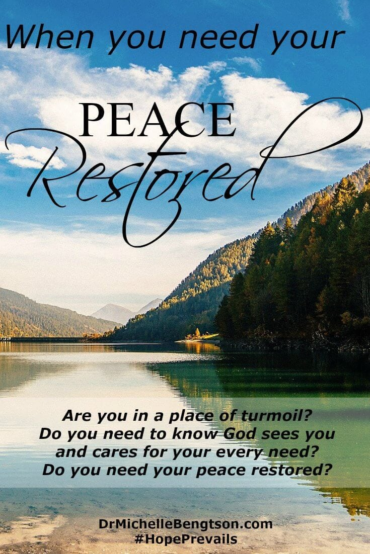 Friend, I don't know what you're going through today, what doubts you have or questions you're seeking answers for, but I know God is with you. He cares about your every need. He's there when you need peace restored.