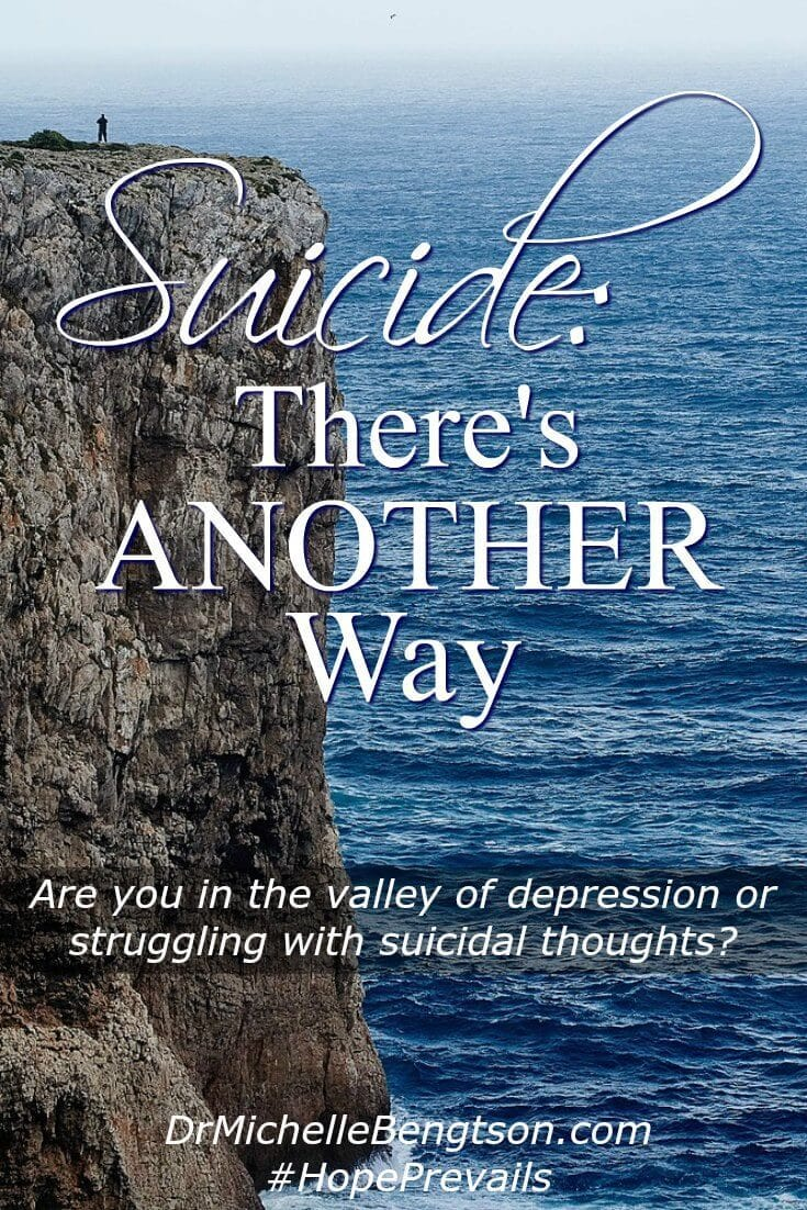 If you are in the valley of depression or struggling with suicidal thoughts, this isn't all there is for you. God has a plan for your life. You are not alone! There is help, hope and healing. Read more for encouraging resources.