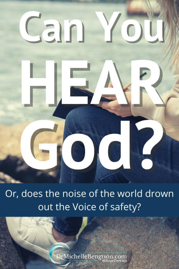Can you hear Him? Does the roar and whir of the noise around you drown out His voice so you cannot hear when He calls or attempts to warn you of danger? Does it drown out the Voice of safety? His calls will do no good if you cannot or will not hear Him. How and where do you hear God best? #God #Godspeaks #hope #faith