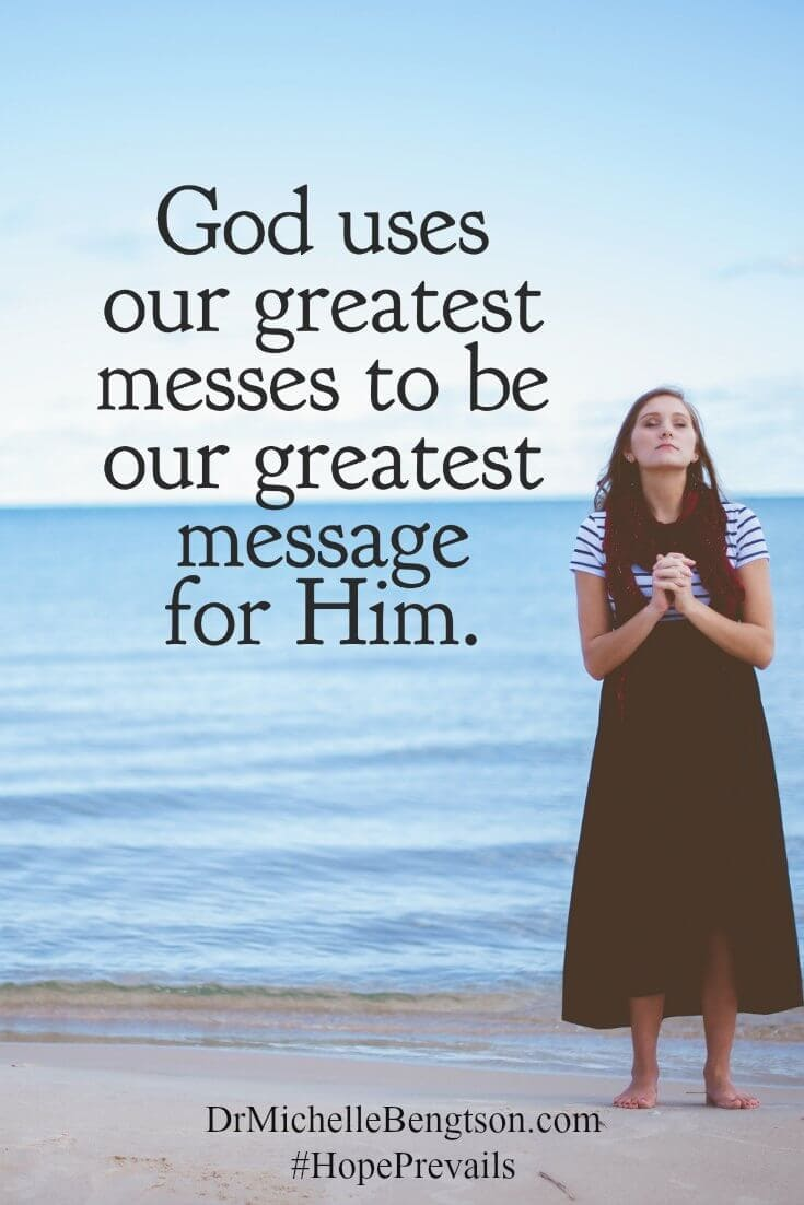 The enemy would like to convince us that our messy pasts erode any promise for our future. However, God uses our greatest messes to be our greatest message for Him.  Christian Inspirational Quote