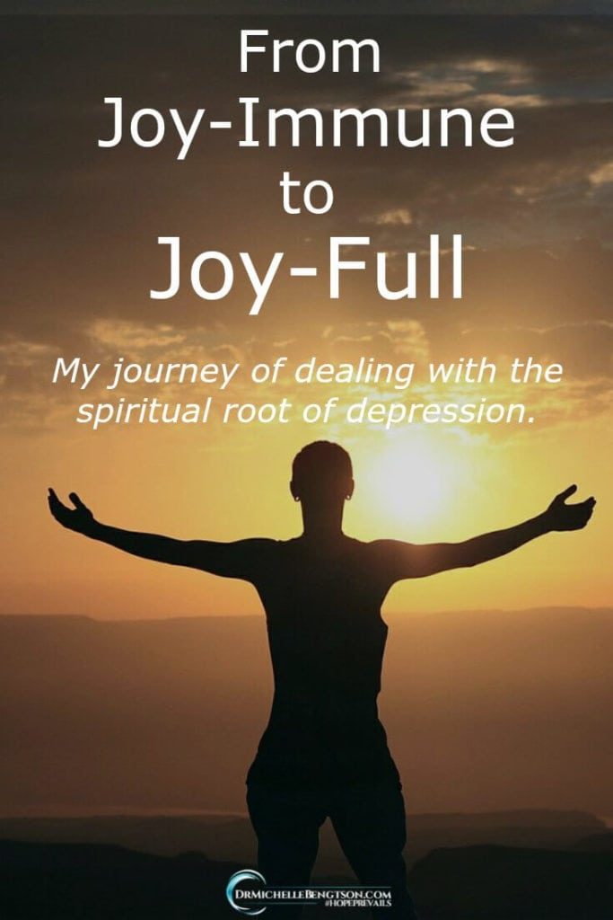 When I dealt with the spiritual root of depression and cooperated with God for complete healing, wholeness, and restoration, I journeyed from joy-immune to joy-full. You can, too! Read more here for #depressionhelp.
