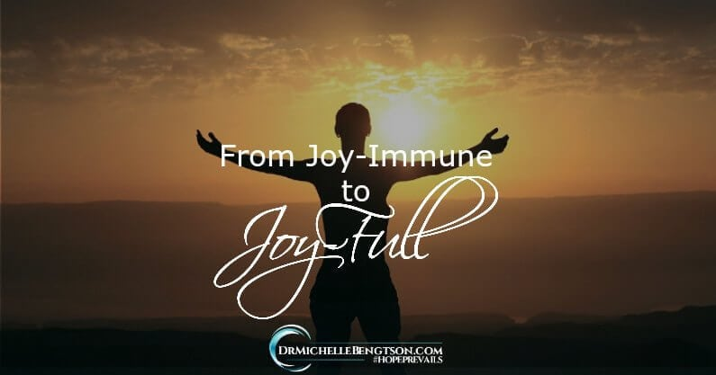 In dealing with the spiritual root of depression and cooperating with God for complete healing, wholeness, and restoration, I journeyed from joy-immune to joy-full. You can, too!