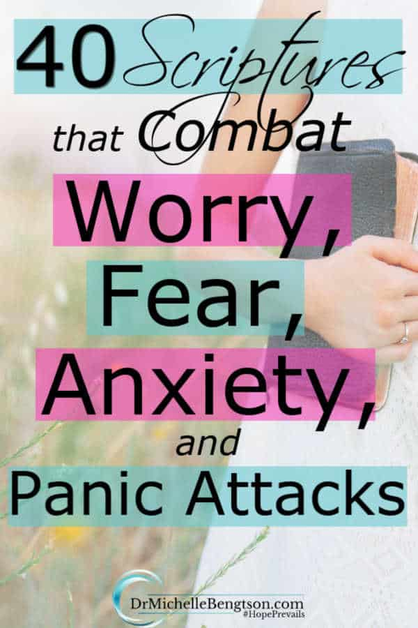 God knew ahead of time we would struggle with worry, fear and anxiety. In His Word, He provided input on how to manage them. Read more for 40 doctor recommended Bible Verses to overcome worry, fear, anxiety and panic attacks. #mentalhealth #anxiety