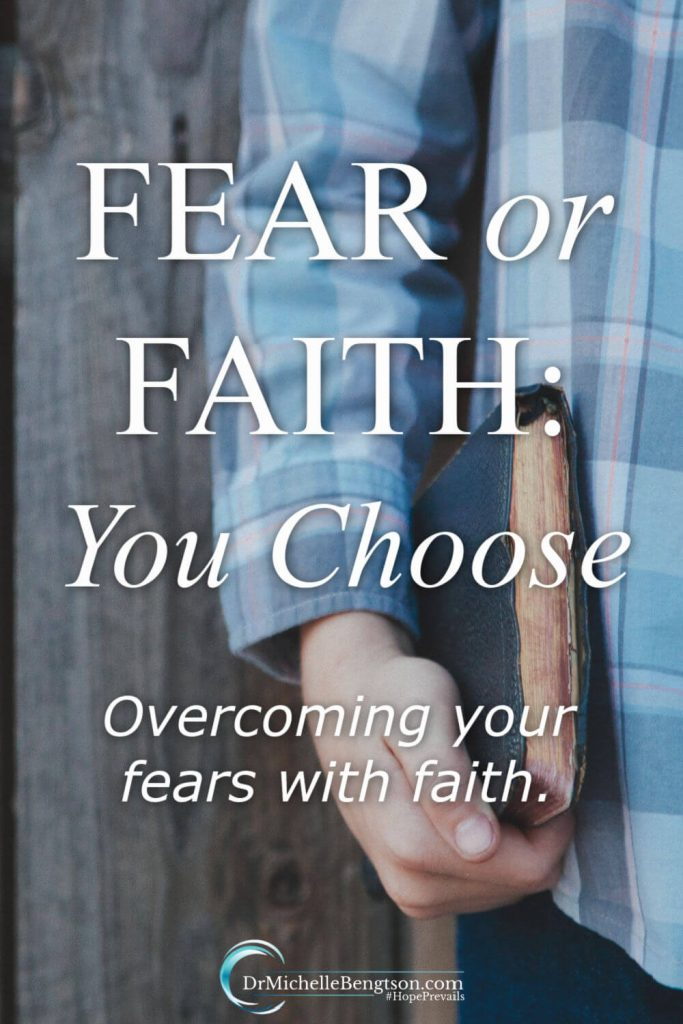 Fear or faith: you get to choose how you'll respond. No matter what you're going through, God has provided answers in His word. God has not given us a spirit of fear, so we can talk back to fear using faith-filled Bible verses. Learn more here about standing in faith against the spirit of fear. #fear #faith #Christianity
